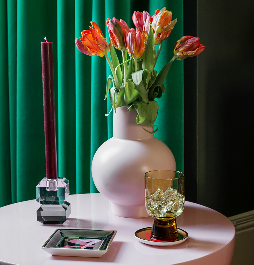 Pink and green interiors featuring pale pink Raawii vase and Mila table by Pulpo. wagreen.co.uk