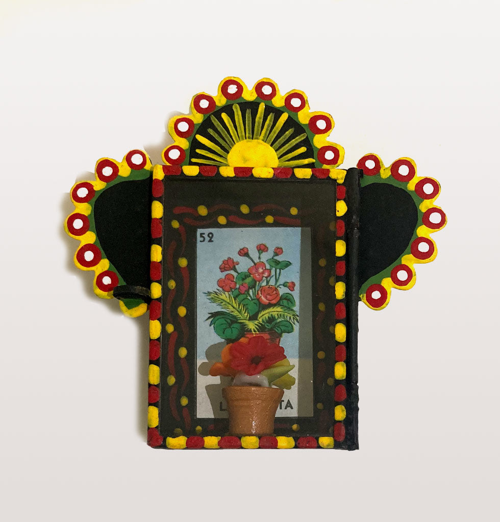 Mini Nicho with flower pot inside. Hand painted tin shadow box in black, yellow and red with sunshine.