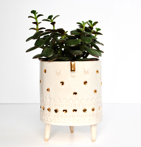 Atelier Stella, hand made ceramic tripod planter. 22kt Gold spots and face pattern vase hand crafted in Brighton studio.
