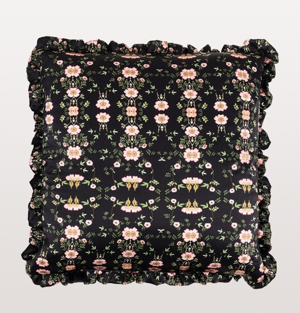 WILD ROSE BLACK FLORAL SKULL CUSHION