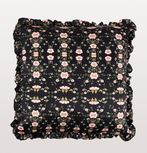 WILD ROSE FLORAL SKULL CUSHION