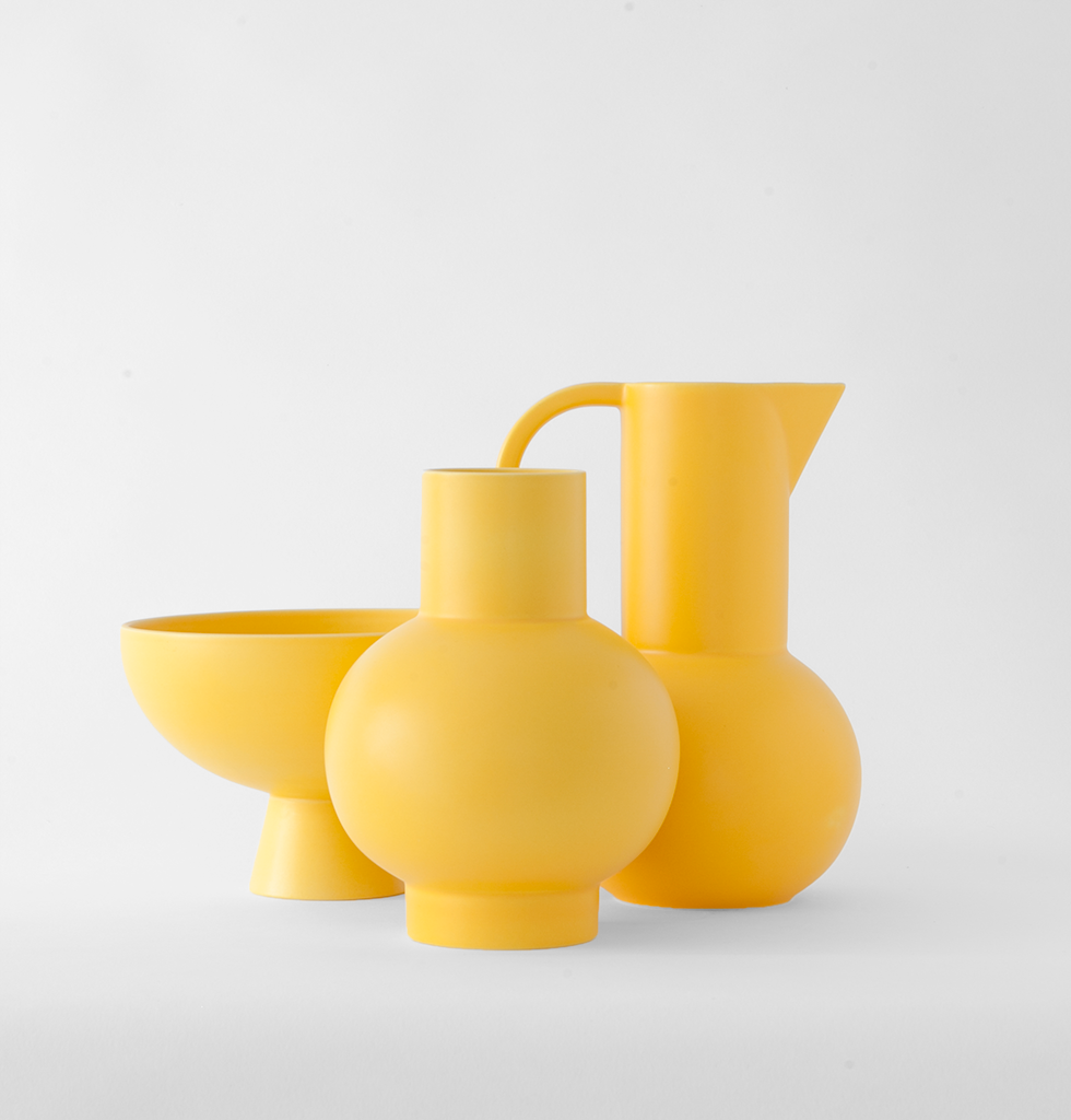 Ceramic collection by Raawii featuring large yellow bowl, large yellow vase and large yellow jug