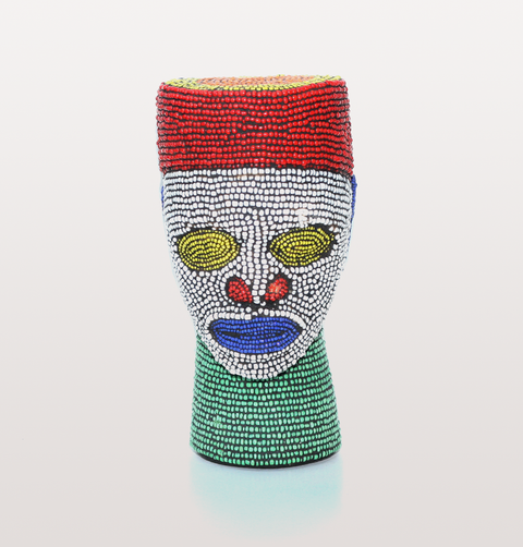 Large beaded African tribal head