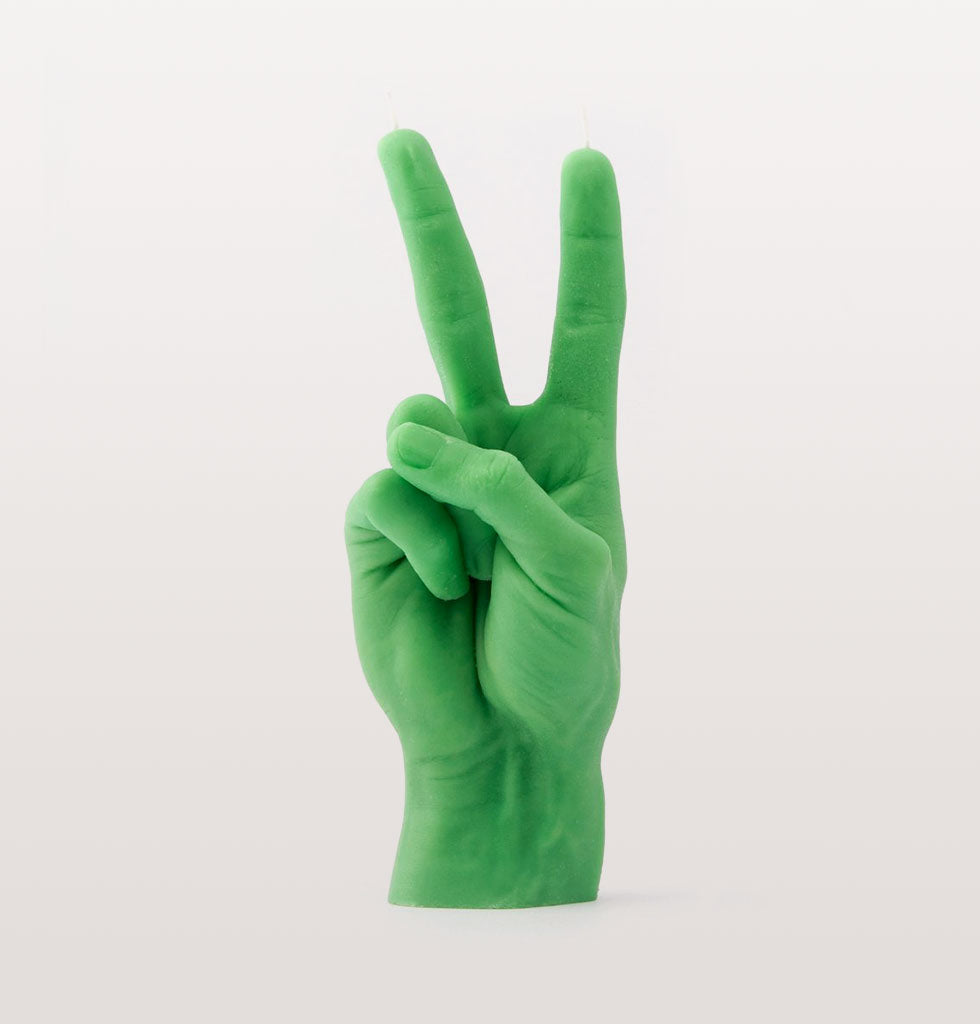 PEACE SIGN GREEN HAND CANDLE