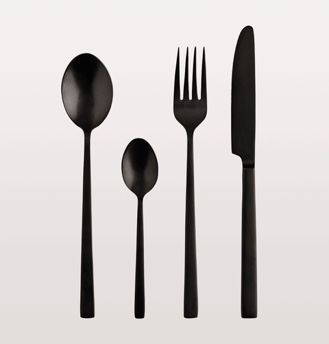 matt black stainless steel cutlery set madam stoltz