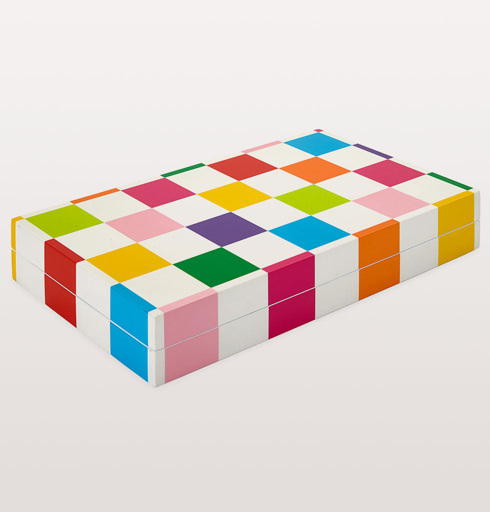 RAINBOW CHECKERBOARD BACKGAMMON SET