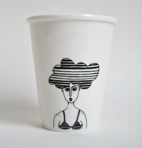 Girl with cloud head cup by Helen B