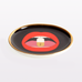 black coaster with red mouth and pill by jonathan adler full dose coasters