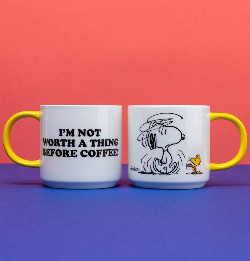 "Peanuts Snoopy Mug ""I'm not worth a thing before coffee"""