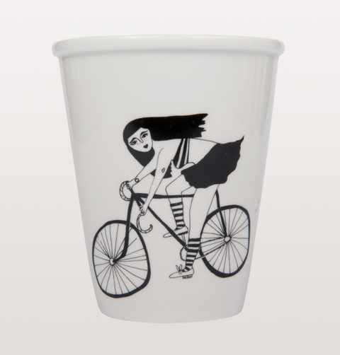 Cycling bike girl cup by Helen B