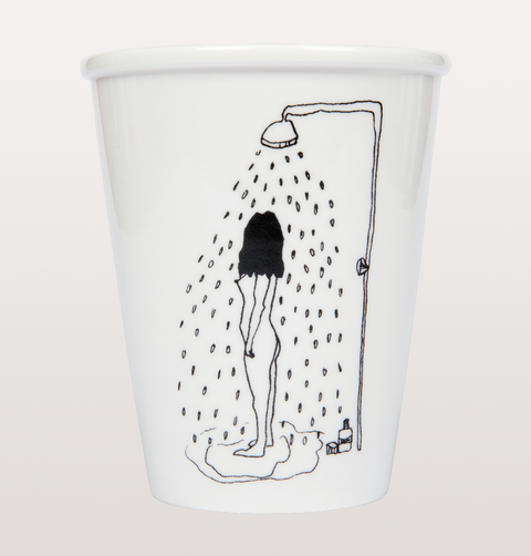 Shower girl cup by Helen B naked in bathroom
