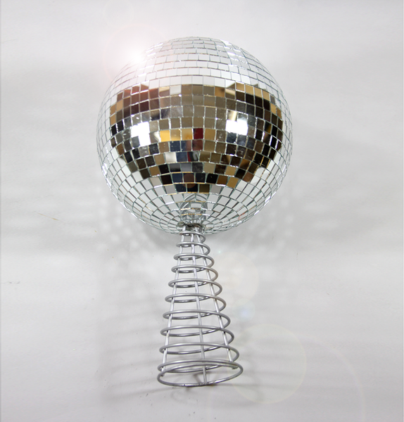 GIANT SILVER DISCO GLITTER BALL TREE TOPPER