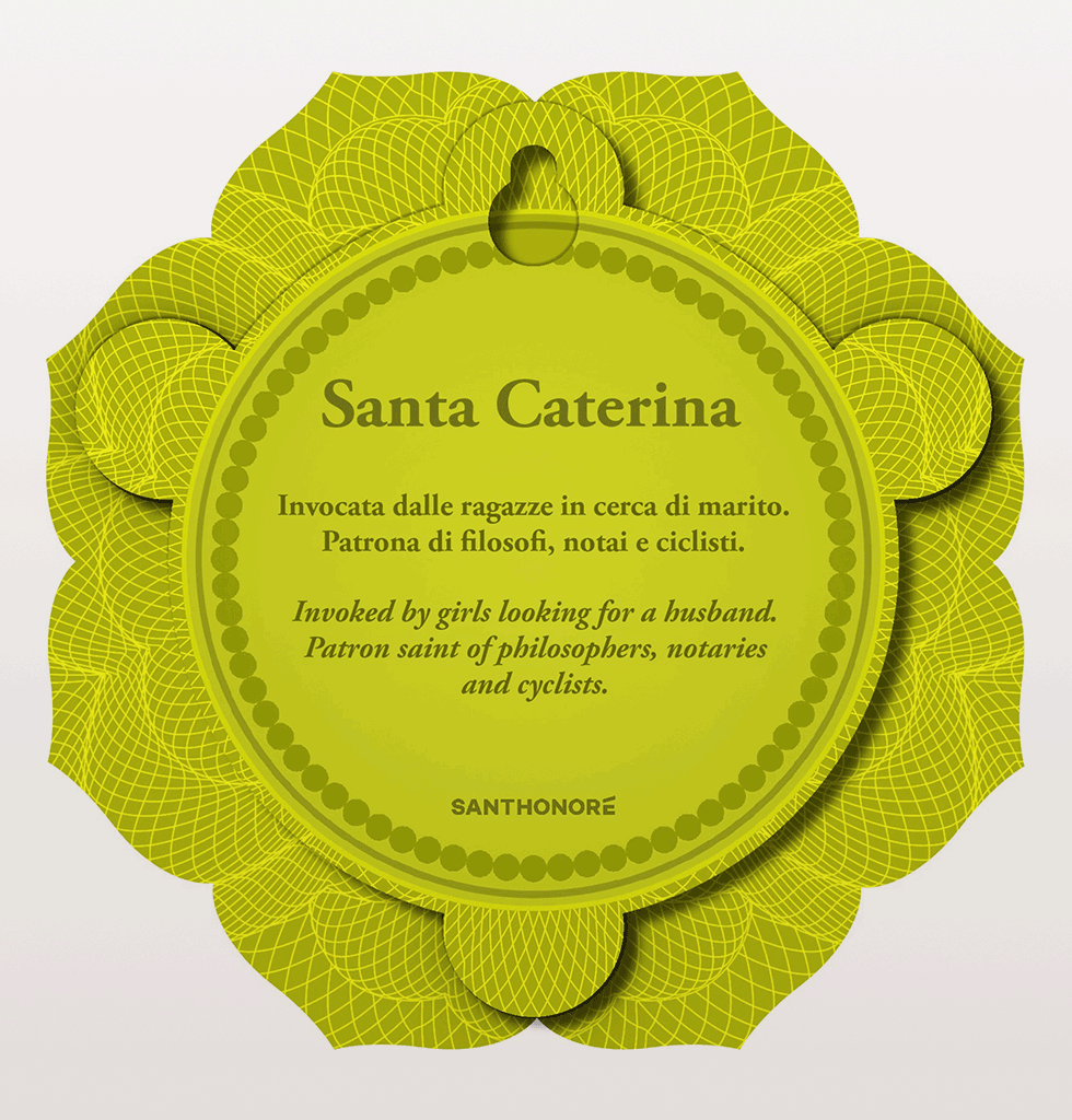Santa Caterina Patron Saint for single women looking for a husband icon wall hanging Sant Honore