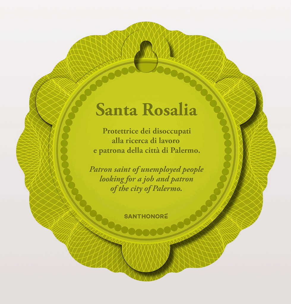 The elegant Saint Rosalia, patron saint of the unemployed looking for work and also fact fans, patron of the city of Palermo. Perfect present for when your bestie needs a boost about making a new start.