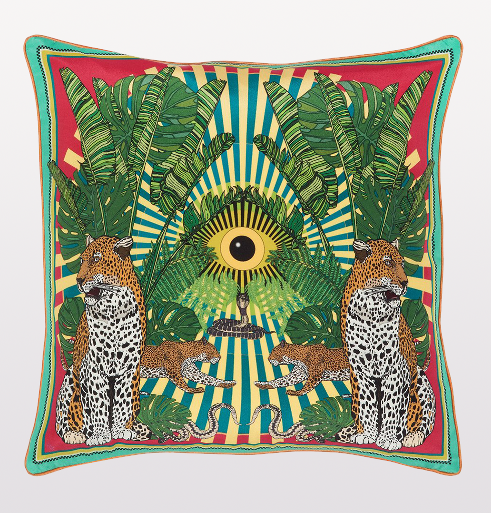 YELLOW EYE OF THE LEOPARD CUSHION