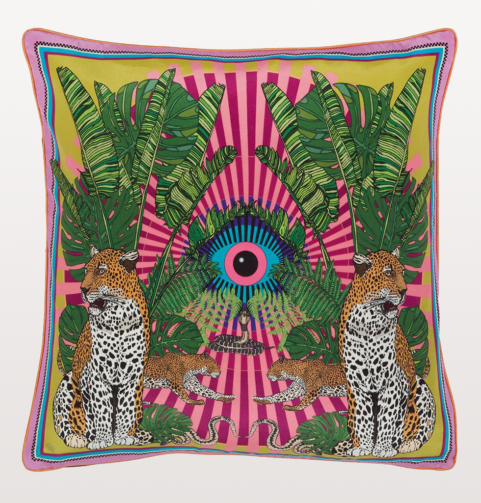 Silken Favours eye of the leopard cushion pink. wagreen.co.uk