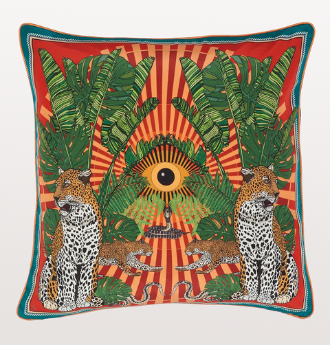 LARGE ORANGE EYE OF THE LEOPARD CUSHION