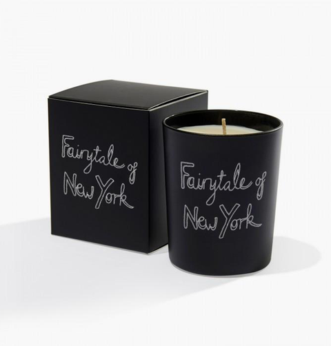 Black and white Bella Freud luxury candle with Fairytale New York font in a 1970s style great as a gift or for homeware and maximalist or minimal styles in textile
