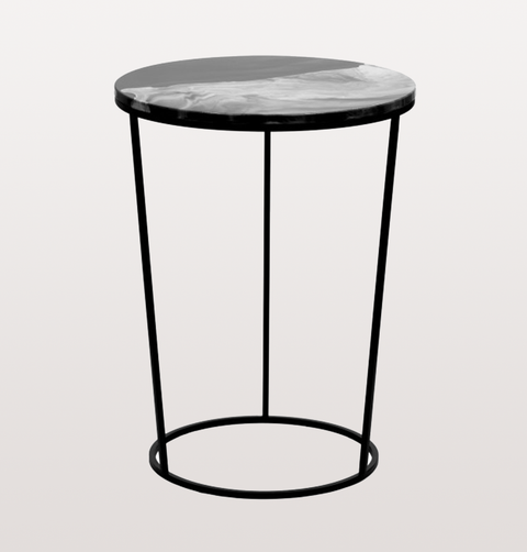 FOSCO HIGH BLACK AND WHITE CERAMIC SIDE TABLE
