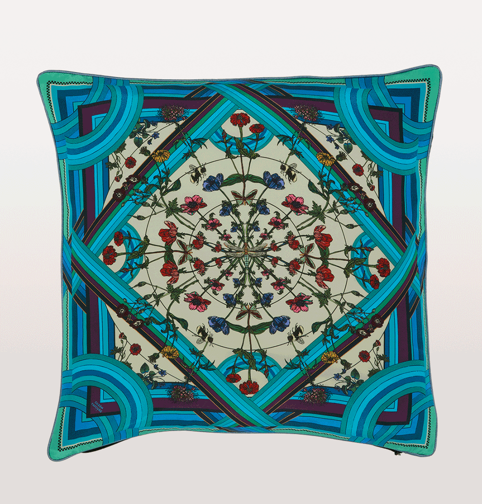 Freaky floral blue cushion silken favours