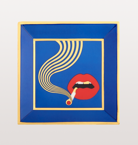 full dose square trinket tray with mouth and smoking cigarette in blue and gold