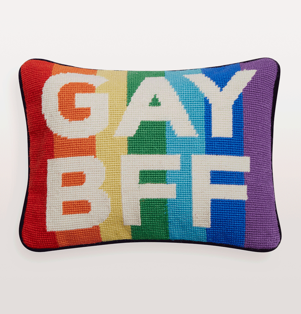 GAY BFF RAINBOW STRIPE NEEDLEPOINT CUSHION