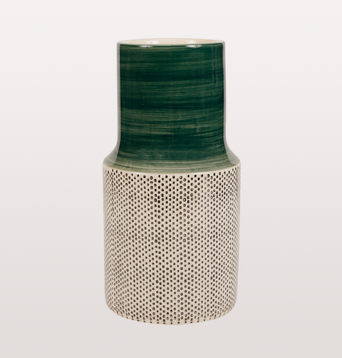 GREEN JAFFA VASE WITH BLACK AND WHITE BASE