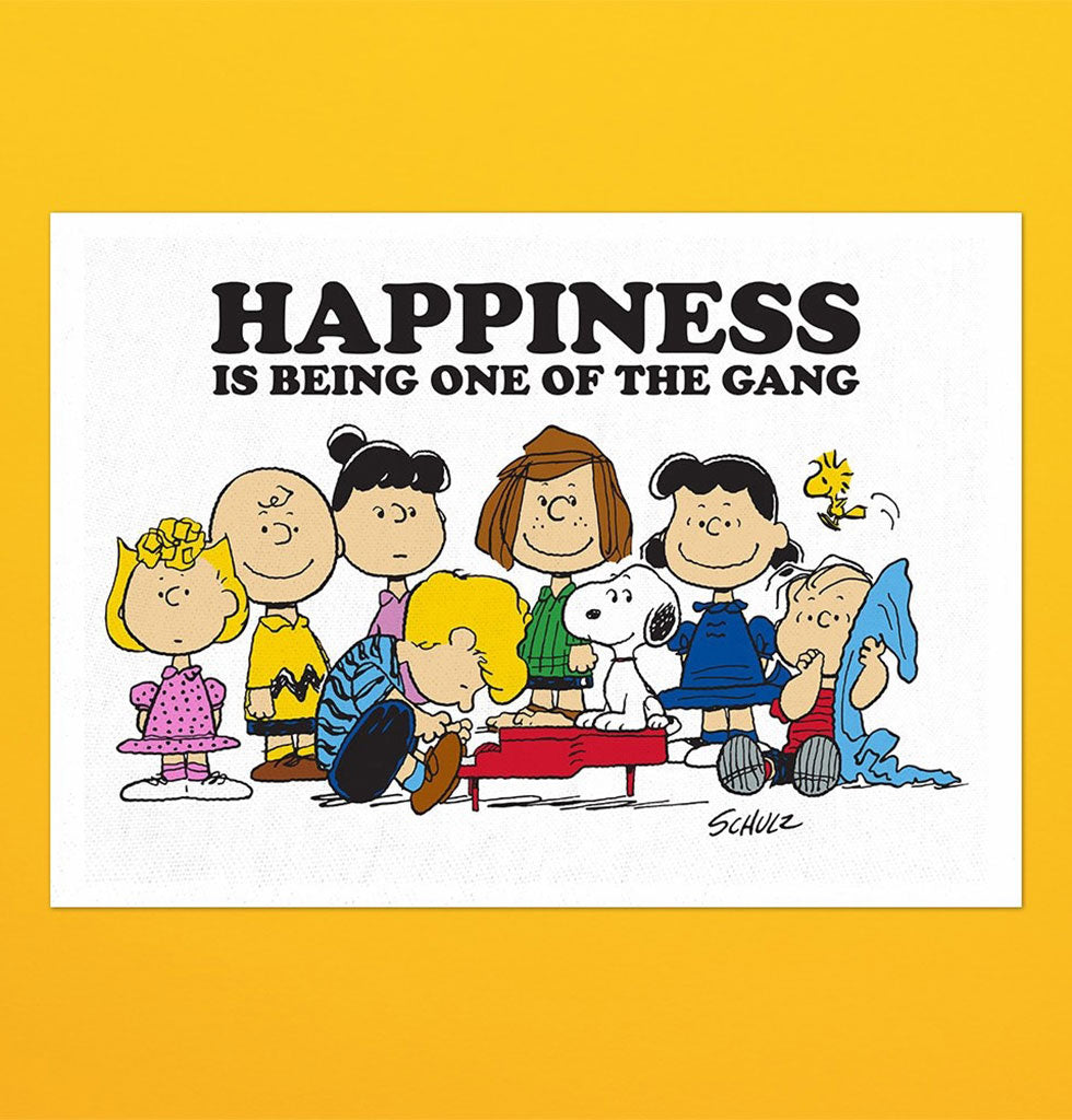 Happiness is being one of the gang Snoopy Peanuts cartoon tea towel for kitchen