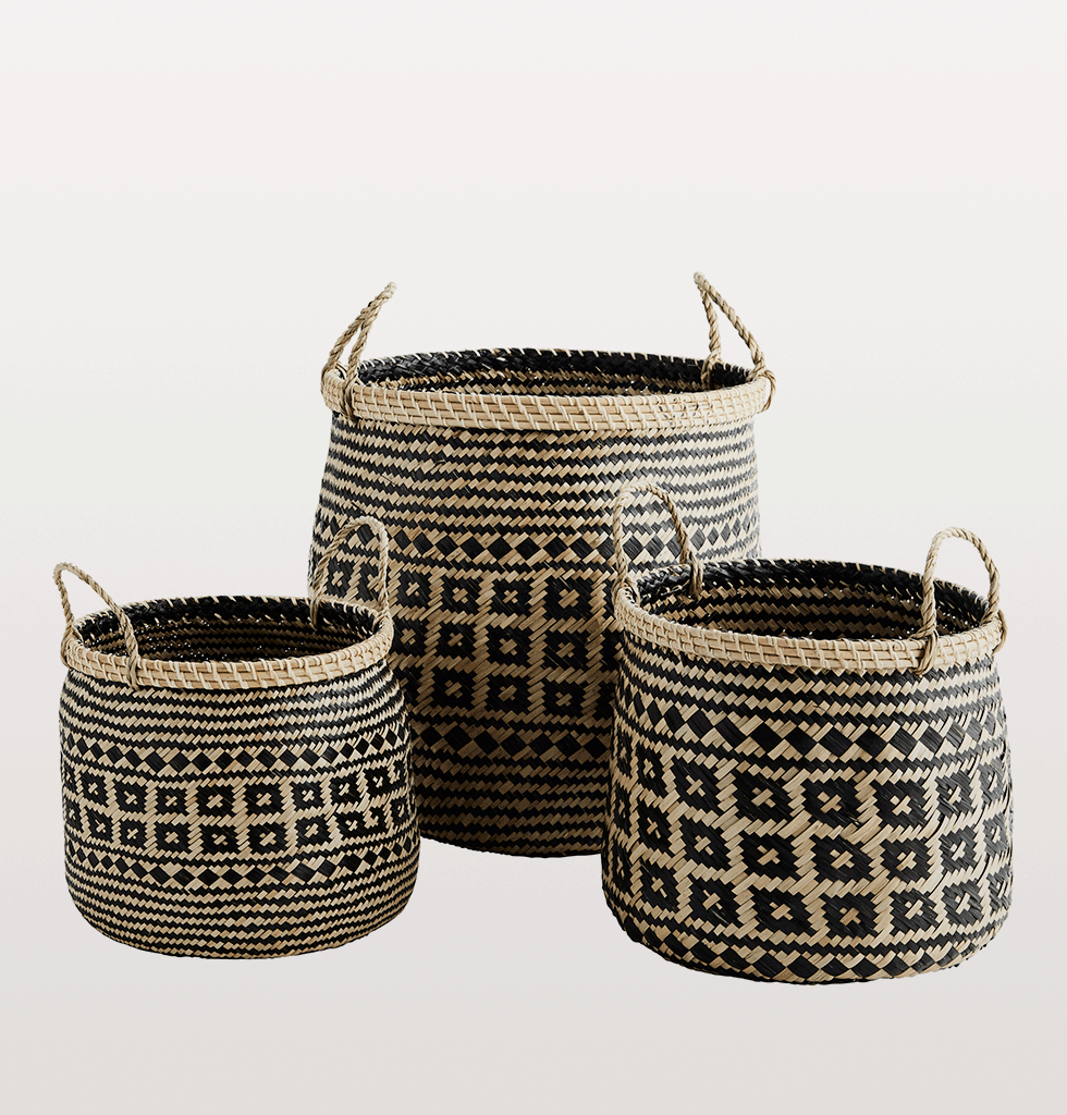 Set of 3 seagrass natural baskets with handles madam stoltz