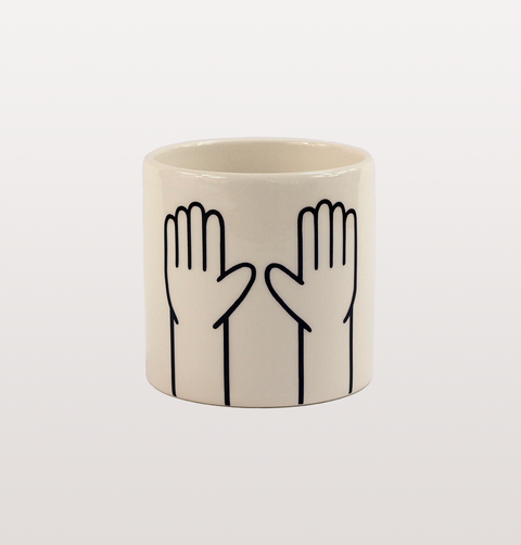 HIGH TEN HANDS SMALL BLACK AND WHITE ILLUSTRATED PLANTER BY LOUISE MADZIA