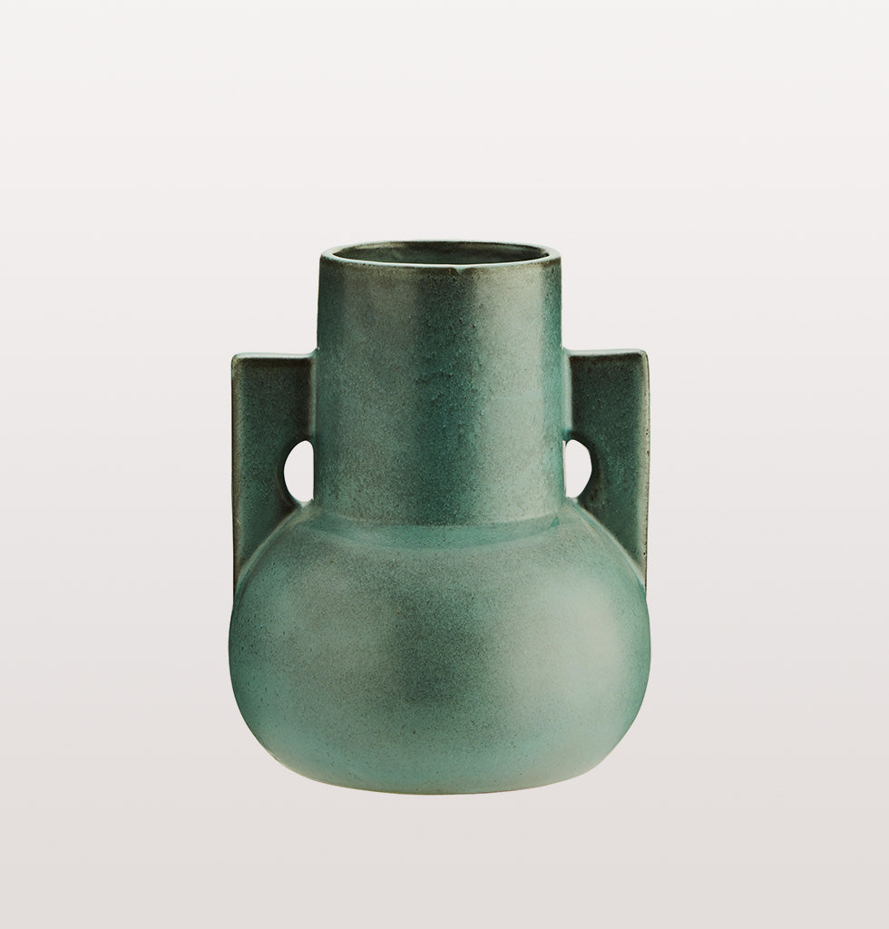 Green terracotta vase by Madam Stoltz