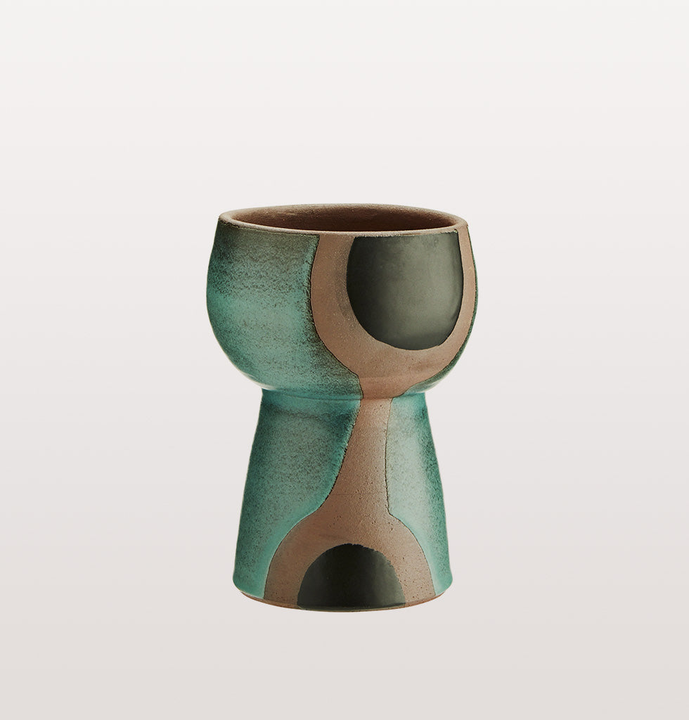 GREEN & BLACK TERRACOTTA VASE