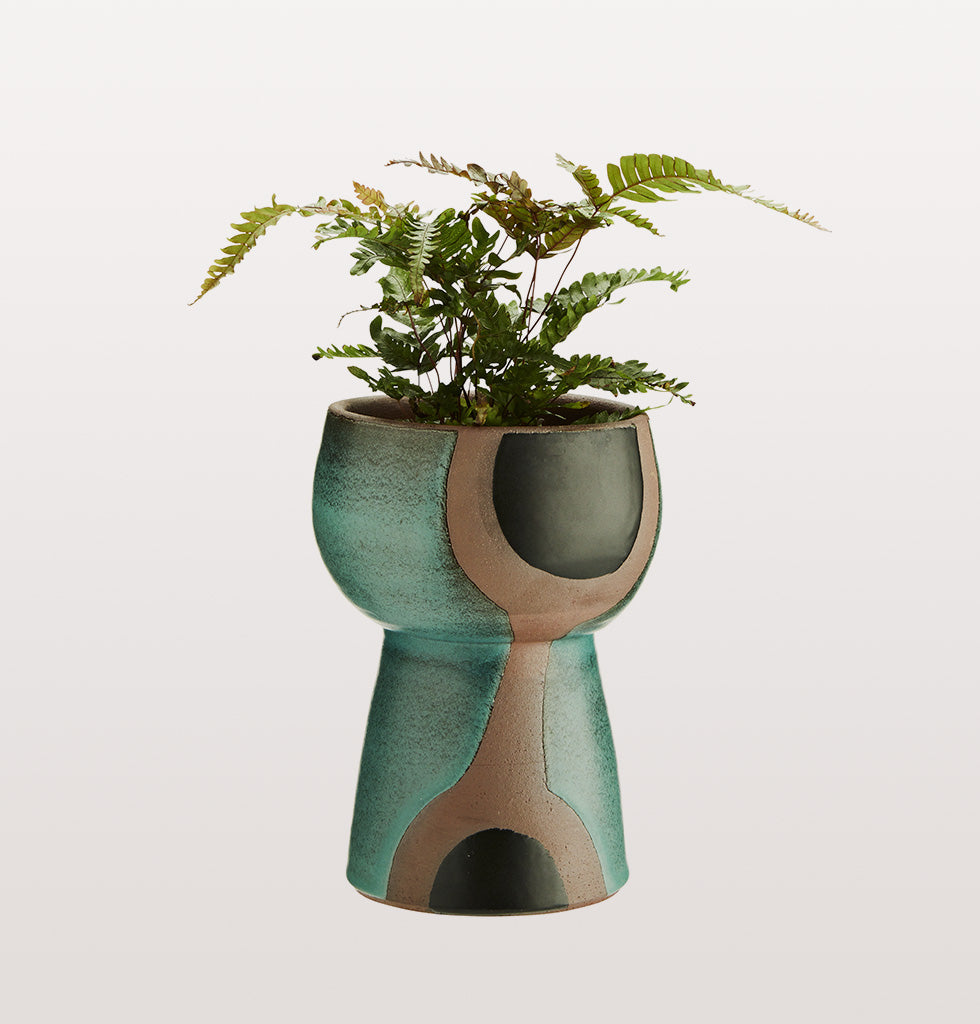 GREEN & BLACK TERRACOTTA VASE MADAM STOLTZ