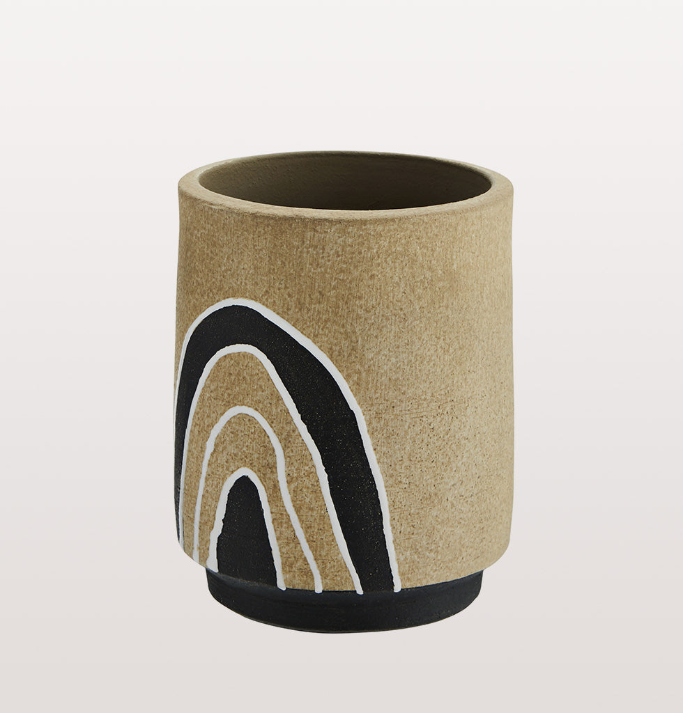 BLACK AND WHITE TERRACOTTA RAINBOW POT MADAM STOLTZ