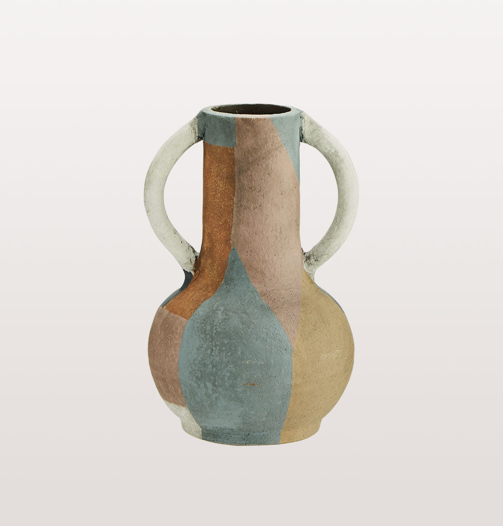 Moroccan MULTI COLOURED TERRACOTTA VASE with handles SMALL