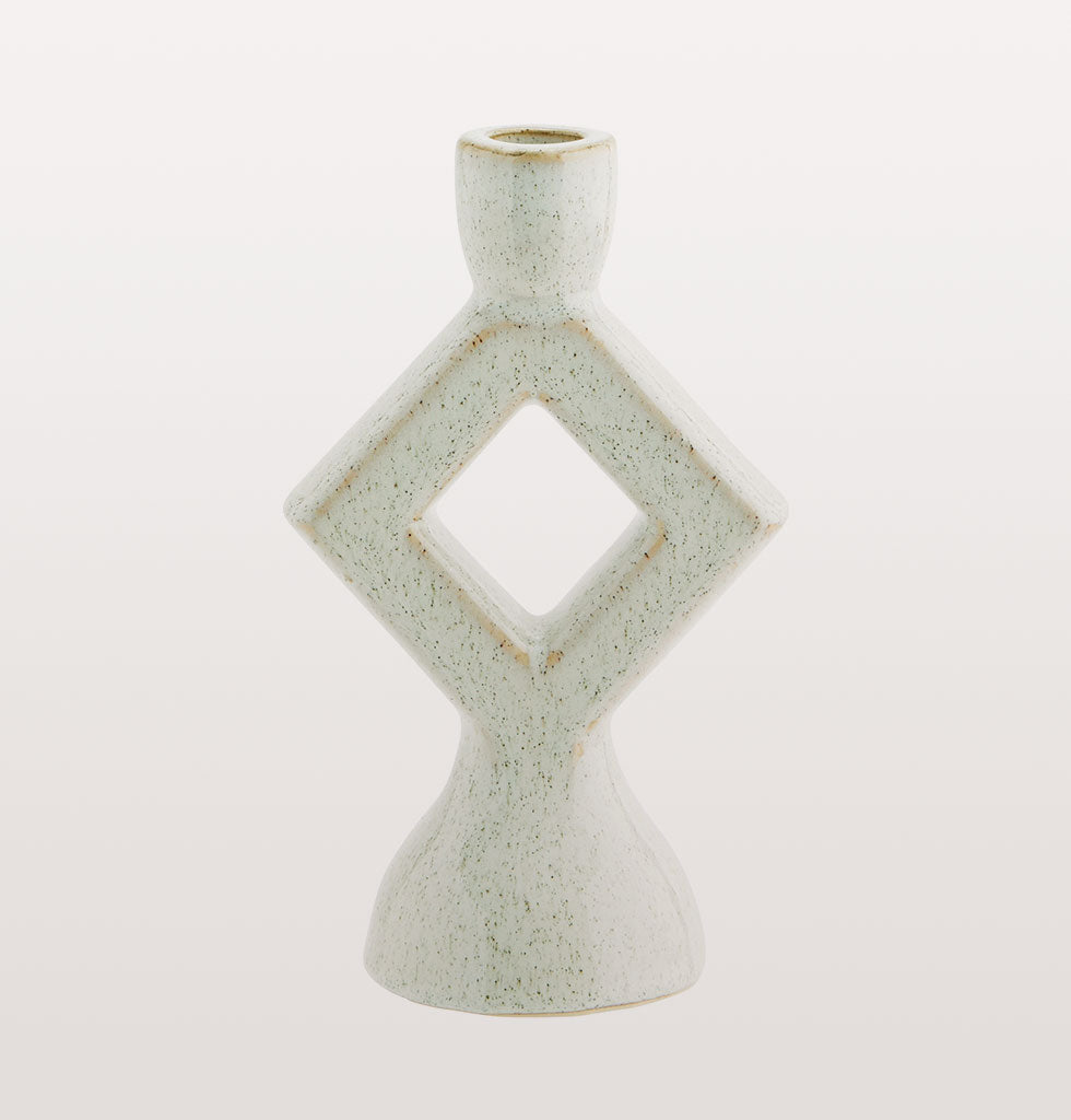MADAM STOLTZ | WHITE TRIANGLE CANDLEHOLDER | Beautiful off white diamond design candleholder  Light up your dinner table or mantlepiece with this smart white diamond design candle holder. The shiny off white glaze will look even prettier by candlelight.