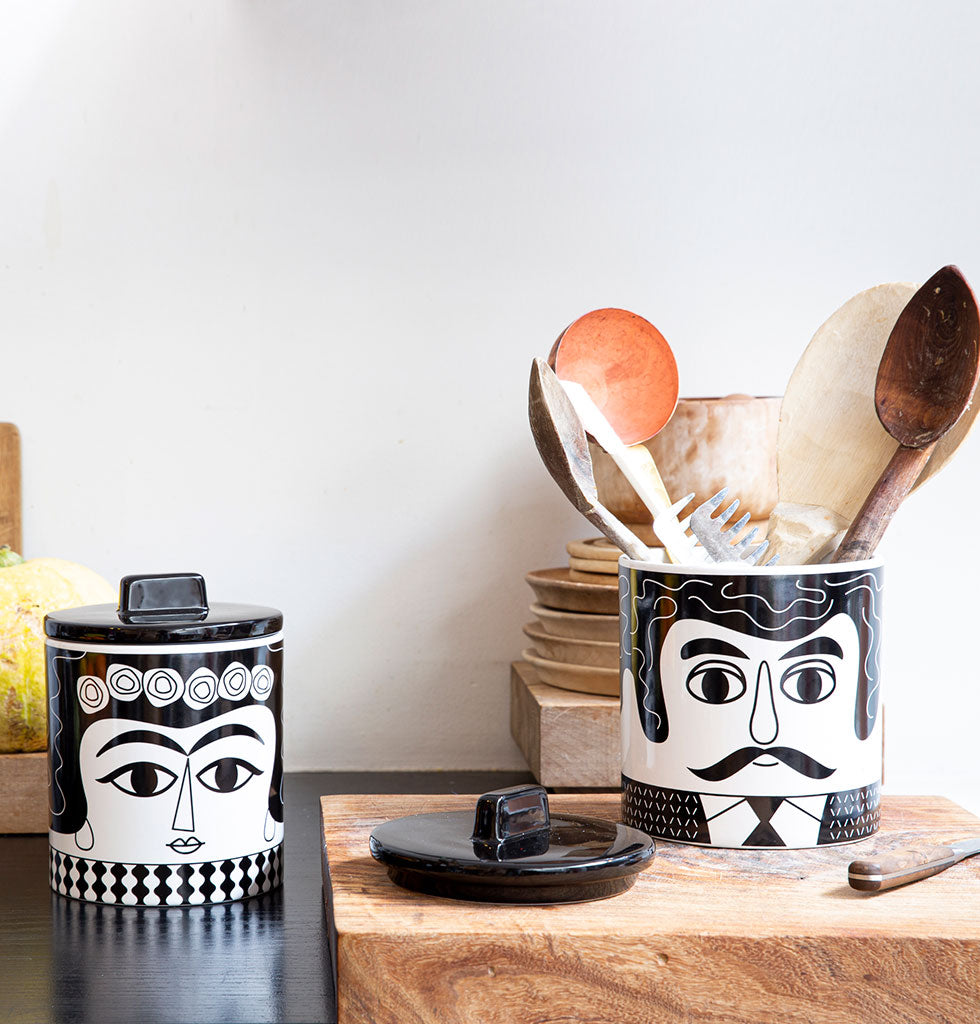 Kitsch Kitchen black and white Carlos design storage jar from wagreen.co.uk