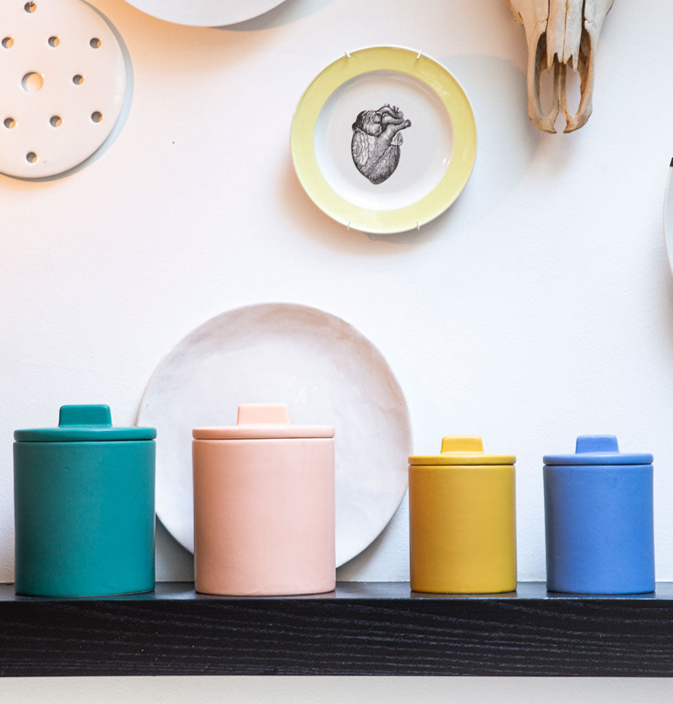 W.A.GREEN | KITSCH KITCHEN | Small retro storage jars in bright yellow and blue and large storage jars in green and pink. Perfect lidded jar in the kitchen for tea and coffee, in the bathroom for cotton wool pads or in the bedroom for hair bands, you'll love it. wagreen.co.uk