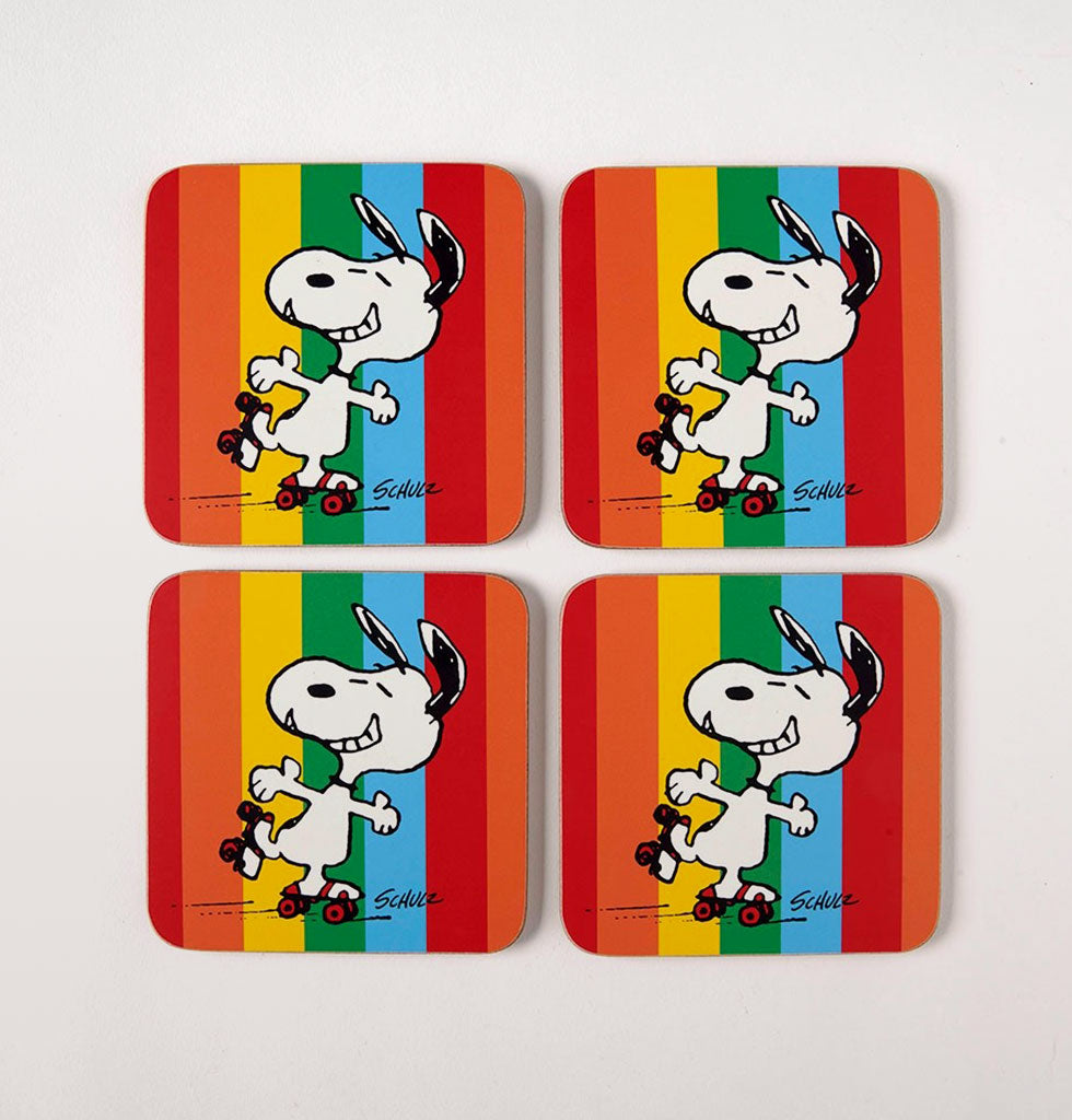 Snoopy Good Time Coasters. Rollerskating Snoopy with bright vertical rainbow stripes. £13 wagreen.co.uk