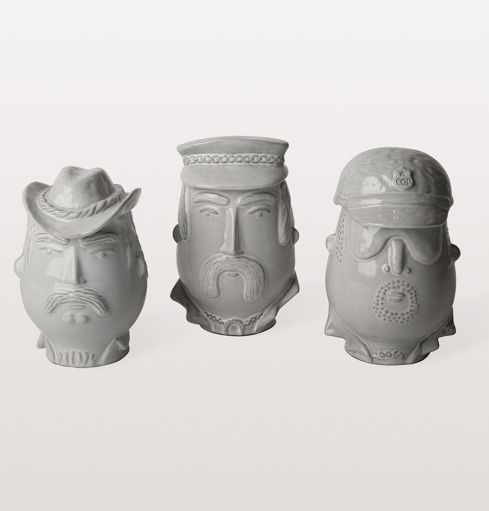 White Macho Cop, Cowboy, Biker YMCA Village People inspired kitchen jar canister. Jonathan Adler Utopia collection