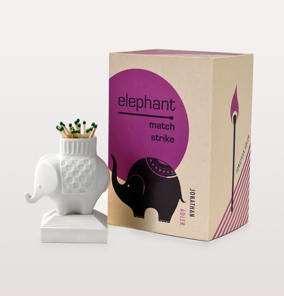 Elephant match strike holder by jonathan adler with box