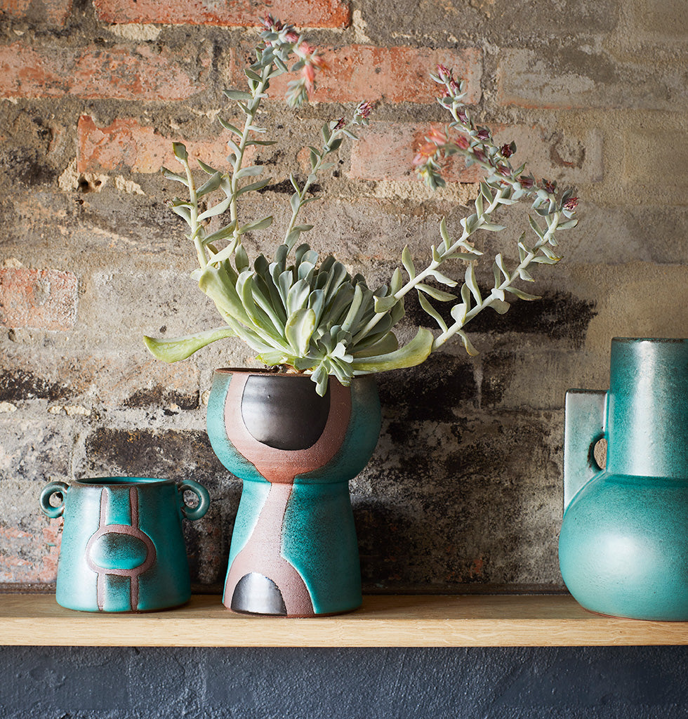 GREEN & NATURAL TERRACOTTA VASE