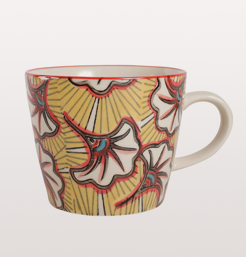 RETRO FLOWER TEA CUPS YELLOW