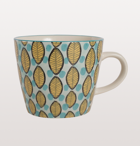 RETRO LEAF TEA CUPS BLUE