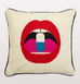 Full dose mouth with pill needlepoint cushion pillow by jonathan adler