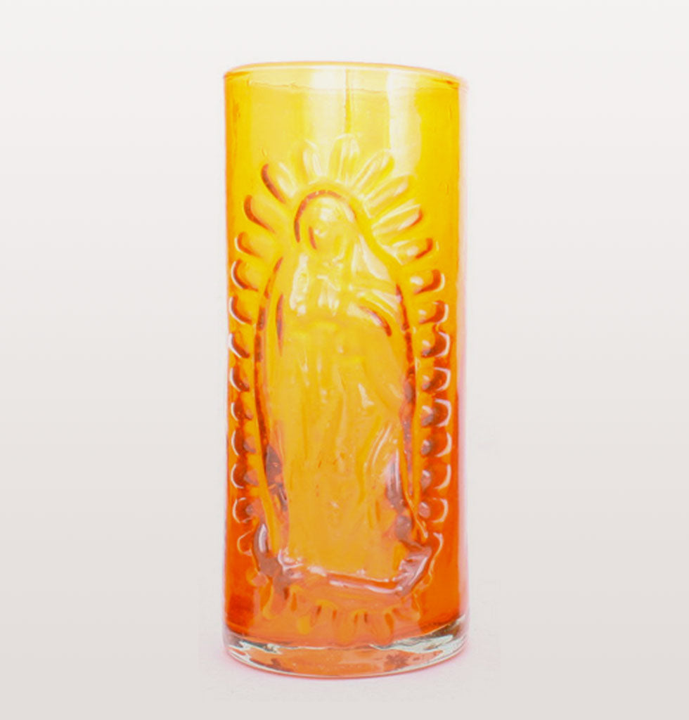 MILAGROS | MEXICAN GLASSWARE | Virgin of Guadalupe embossed Mexican glassware. Our Lady of Guadalupe is iconic throughout Mexico and these recycled hand made bright orange coloured highball tumblers are beautiful reminders of this beautiful country. wagreen.co.uk