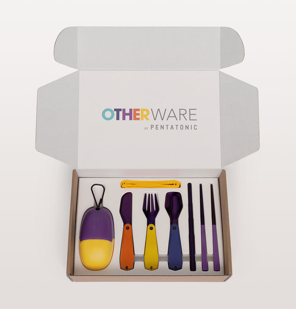 The pebble is a personal cutlery kit that eliminates the need for single-use eating utensils. Sayōnara wooden forks and plastic knives! Complete with knife, fork, spoon, chopsticks and a straw the Pebble equips you to slurp noodles from the food truck and munch on a salad in the park.  Weighing the same as a smart phone this dining set is popping with colour and practicality.   Produced in partnership with Pentatonic and i am OTHER, the creative collective assembled by music legend Pharrell Williams.