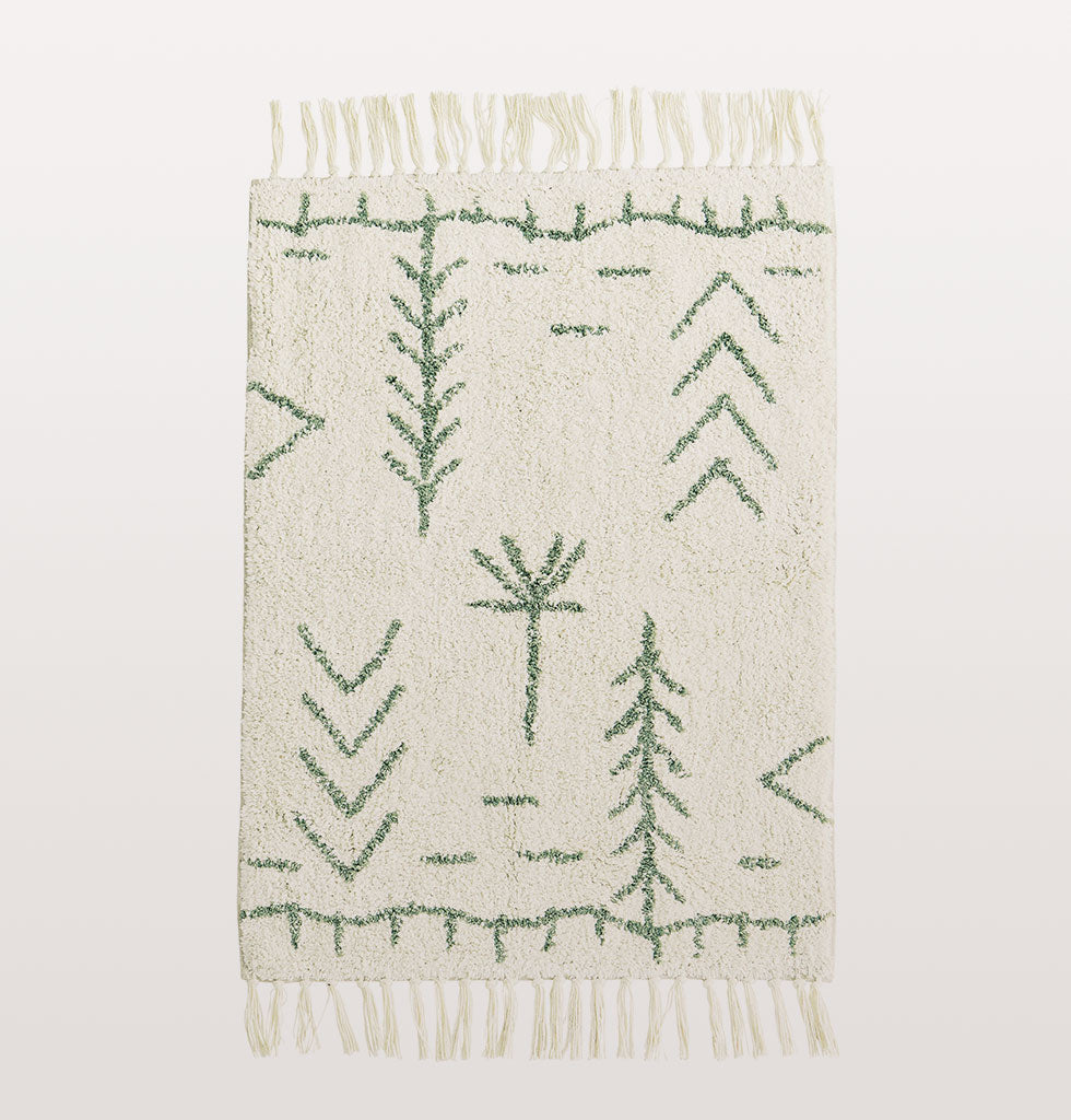 W.A.GREEN | MADAM STOLTZ | BERBER BATH MAT GREEN | Step out of the shower and into the souk with this beautiful soft Berber inspired bath mat.  Super soft off white ivory coloured cotton is patterned with a graphic sage green design. The large tasseled bath mat is lovely and thick with a clever slip proof latex backing. £26 wagreen.co.uk