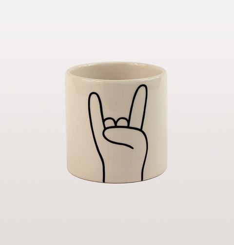 ROCK ON HORN HANDS BLACK AND WHITE MINI POT BY LOUISE MADZIA