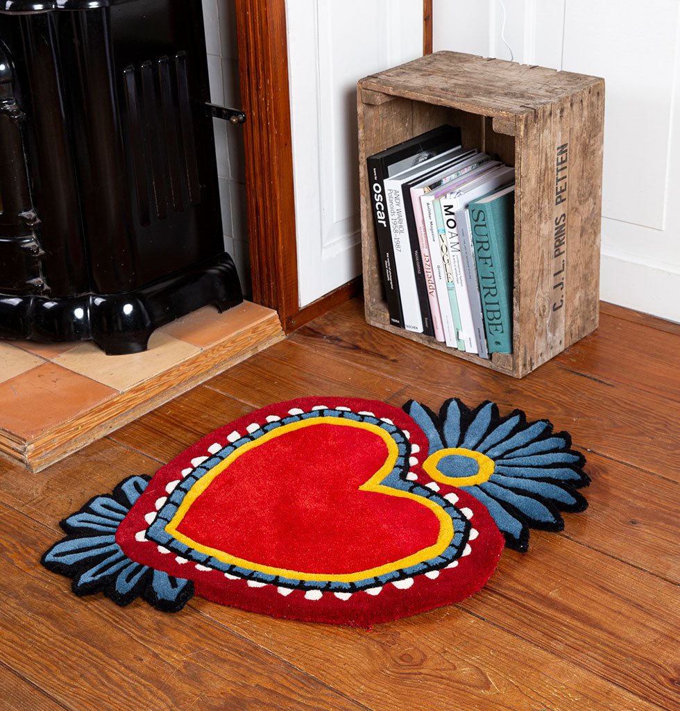 RED MILAGRO HEART RUG
